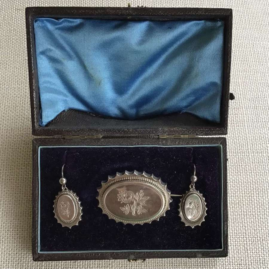 Victorian silver locket brooch and matching earrings in original box
