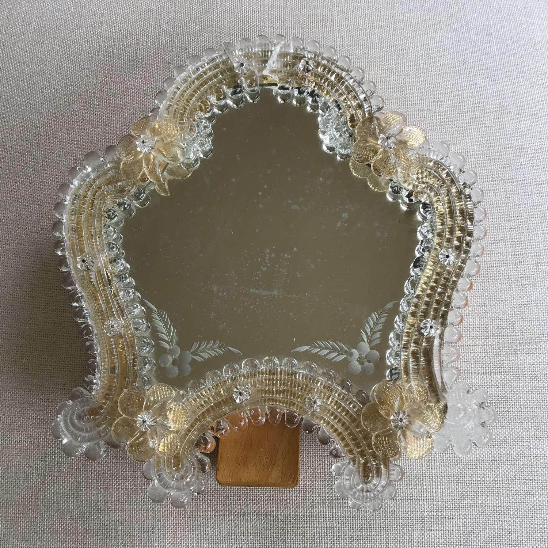 Vintage Venetian Murano glass hanging or standing mirror