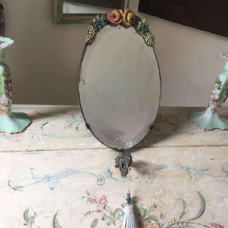 Oval floral Barbola mirror c 1930s
