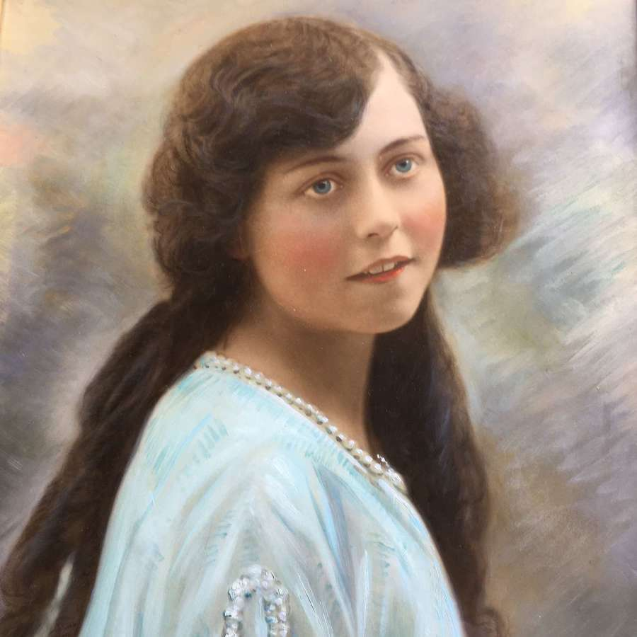 Antique signed and framed painted photograph of young girl