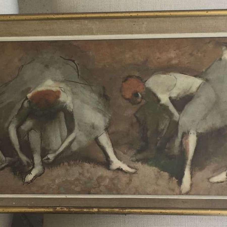 Mid century framed Degas print of ballet dancers
