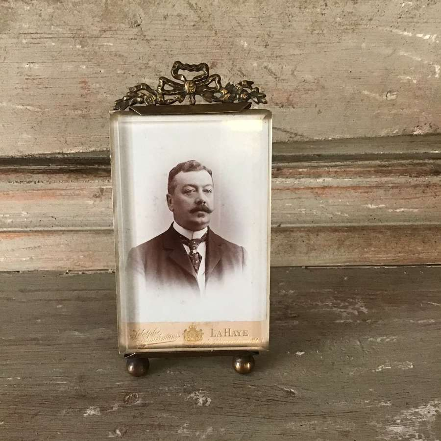 Antique French frame with decorative bow top, hanging or standing
