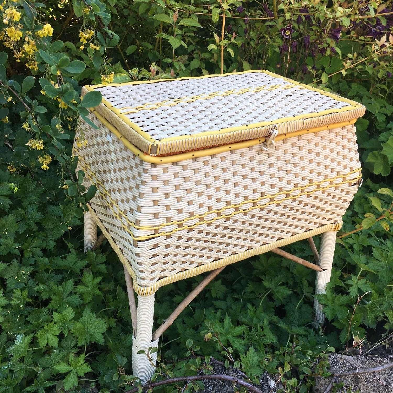 Vintage sewing basket on legs