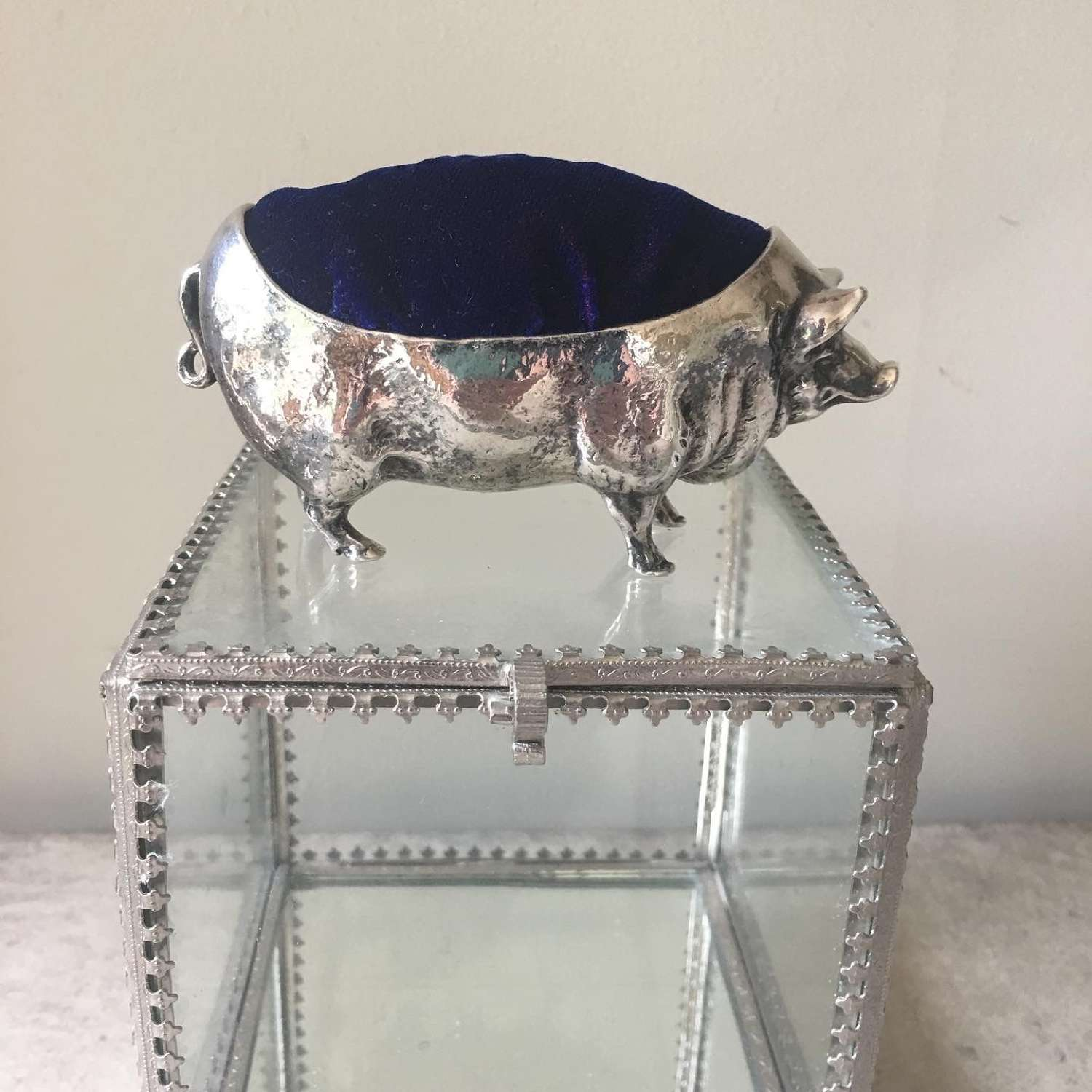 Vintage silver plated pig pin cushion