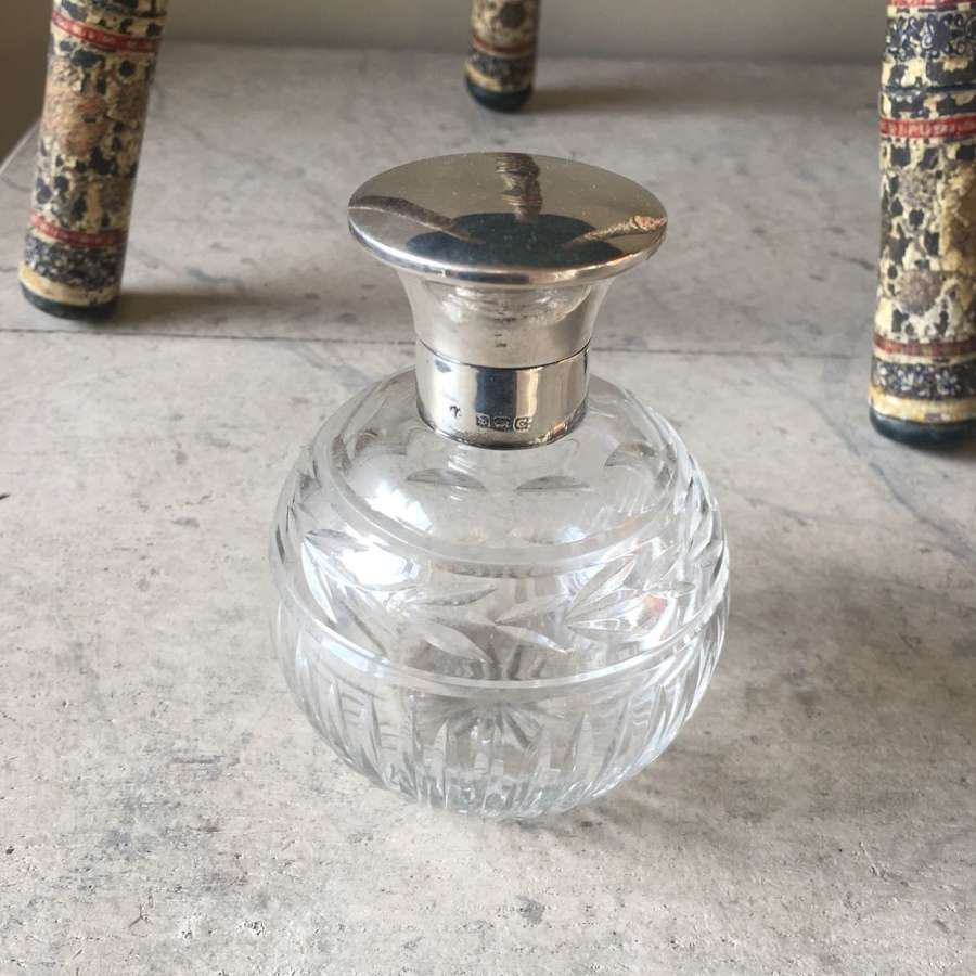H/M 1927 silver topped crystal glass scent bottle