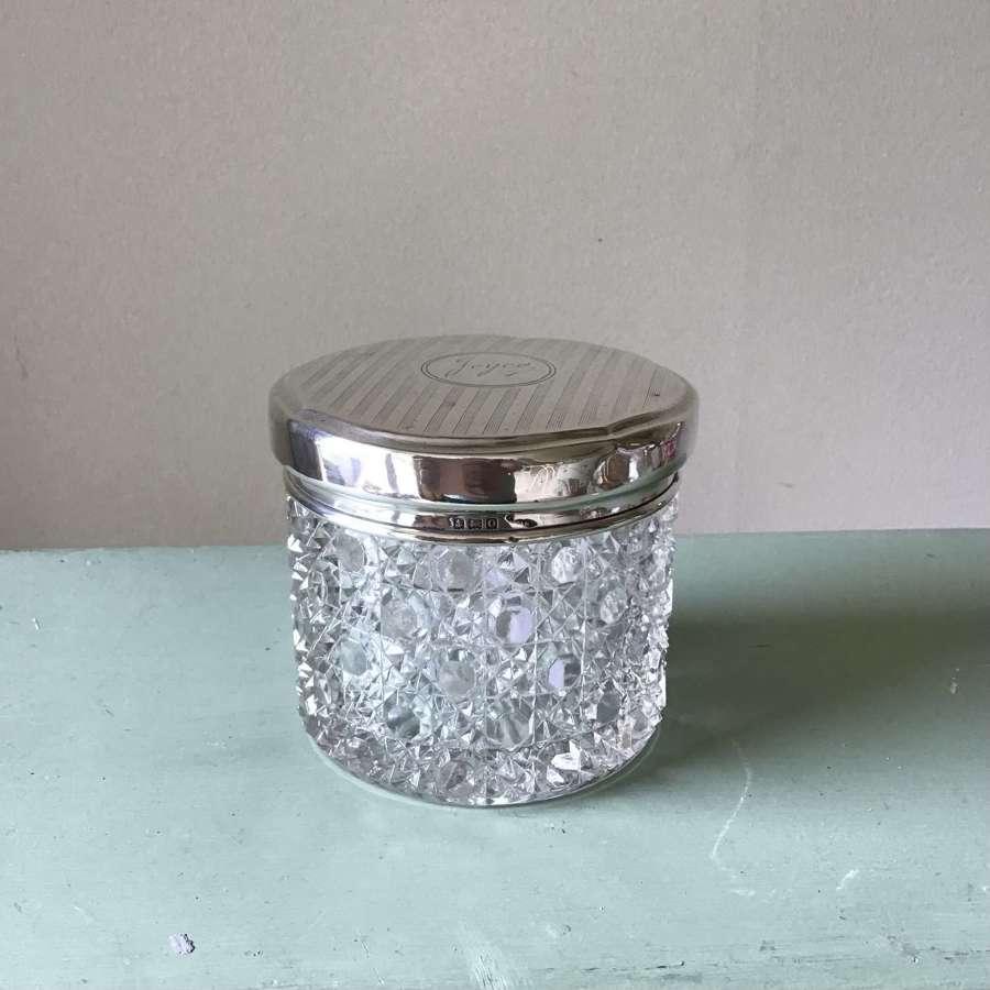 "1938 hallmarked silver topped powder pot/jar engraved ""Joyce"" a/f"