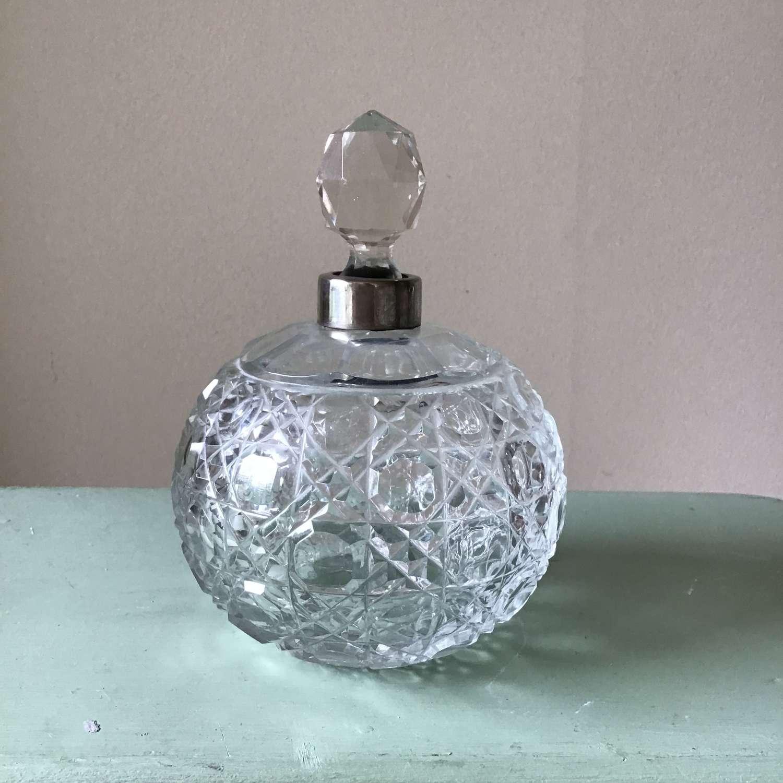 Large hobnail design cut glass crystal antique scent bottle