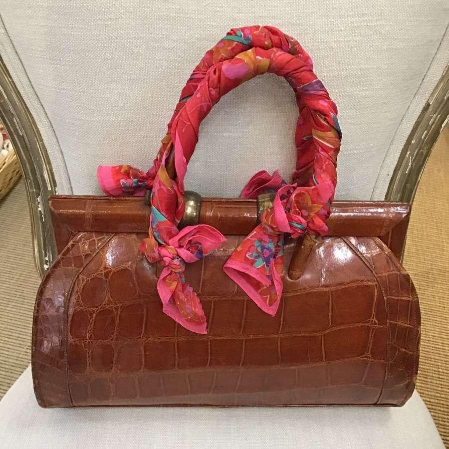 Vintage Russell & Bromley crocodile skin handbag
