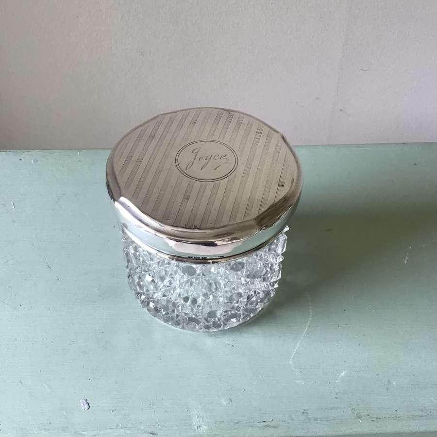 Large sized silver topped powder pot/jar as found, engraved name Joyce