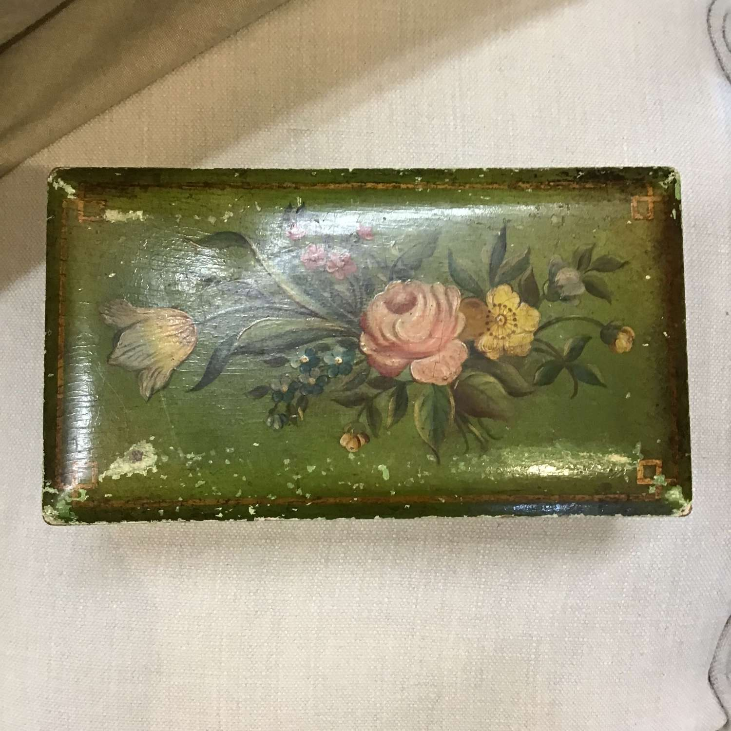 Victorian hand painted wooden box