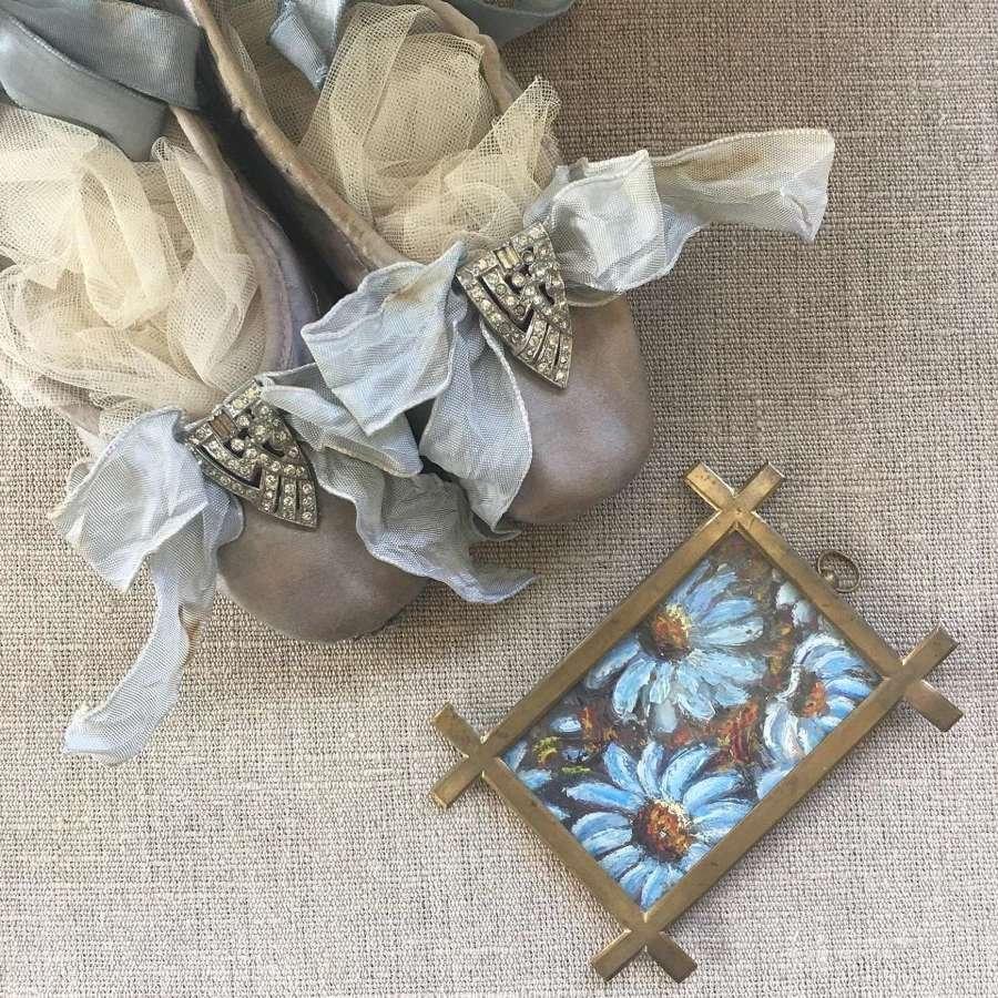 Pale blue/grey ballet pointes with vintage Art deco paste dress clips