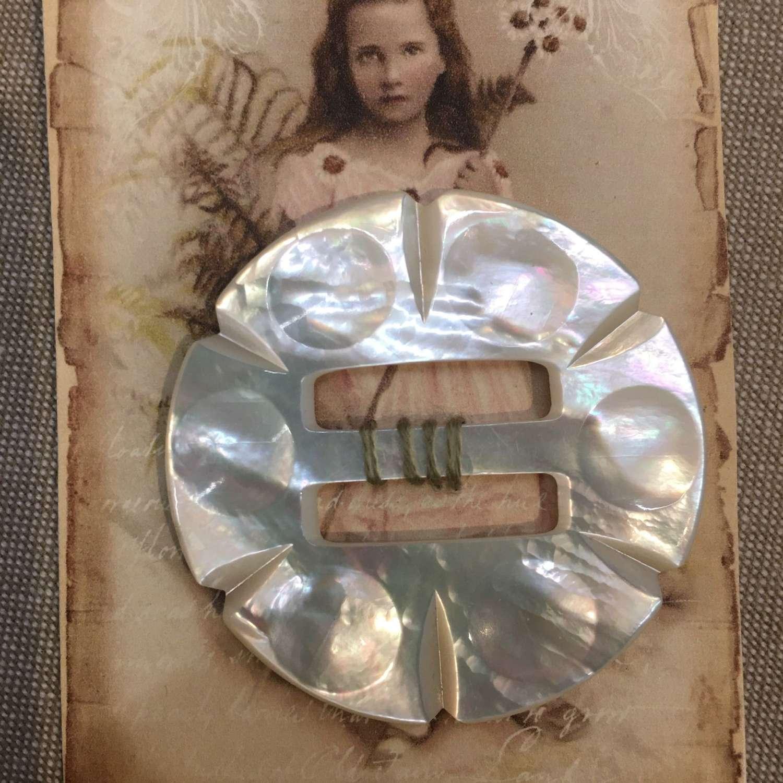 Antique mother of pearl buckle 5cm diameter