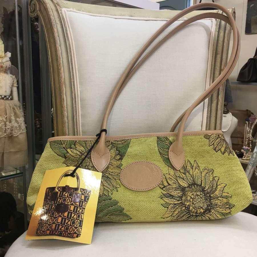 Liz Cox sunflower shoulder bag with leather trims