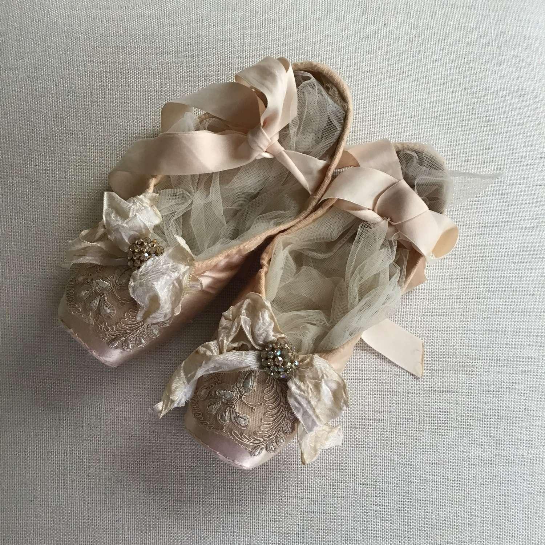Vintage embellished pink Freed ballet shoes
