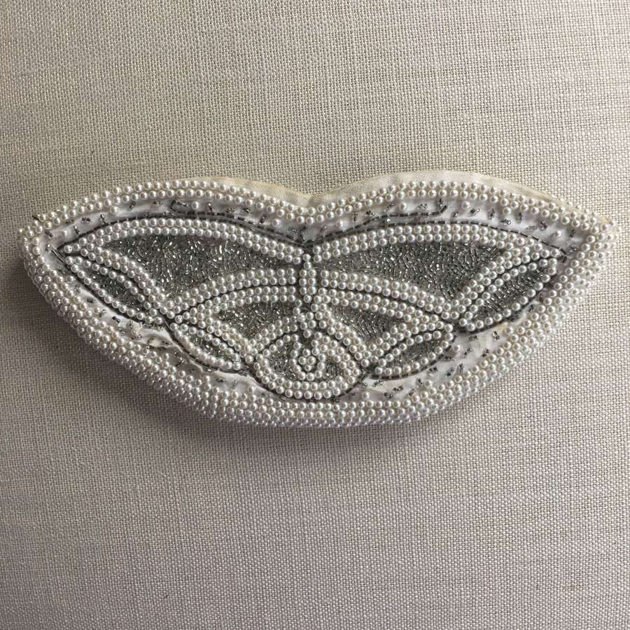 Vintage cream beaded bag with butterfly design
