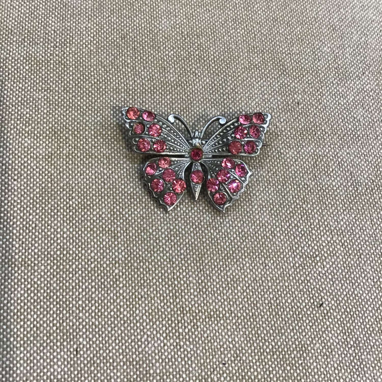 Vintage pink paste butterfly brooch