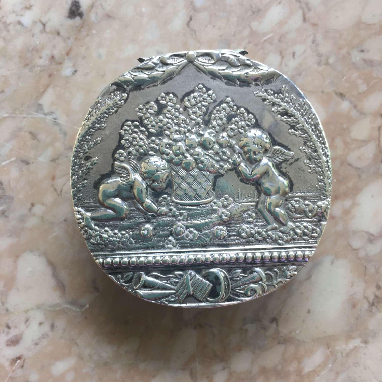 Hallmarked silver cherub pill box