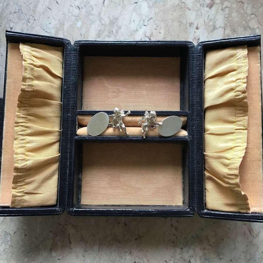Silver hallmarked cherub cufflinks