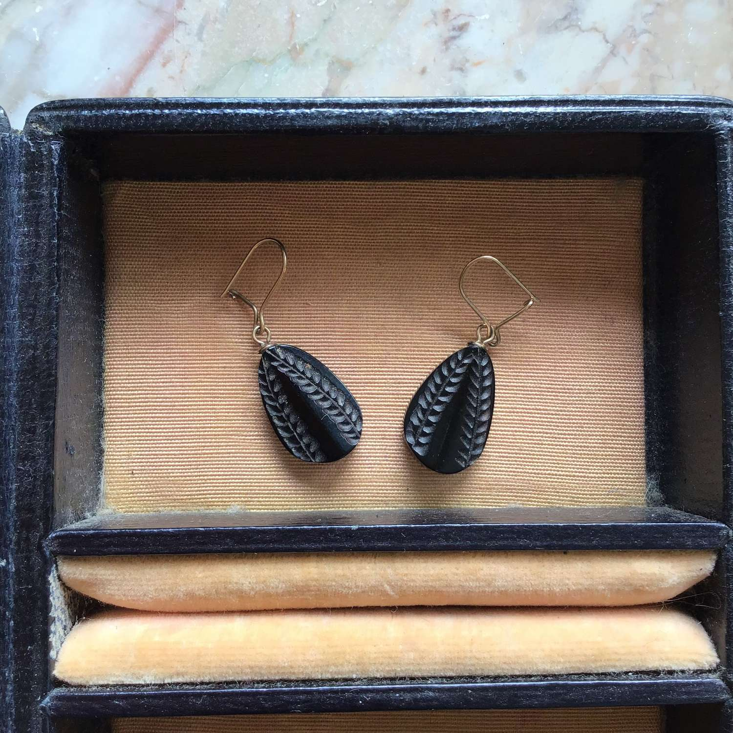 Antique Whitby jet earrings with gold earwires