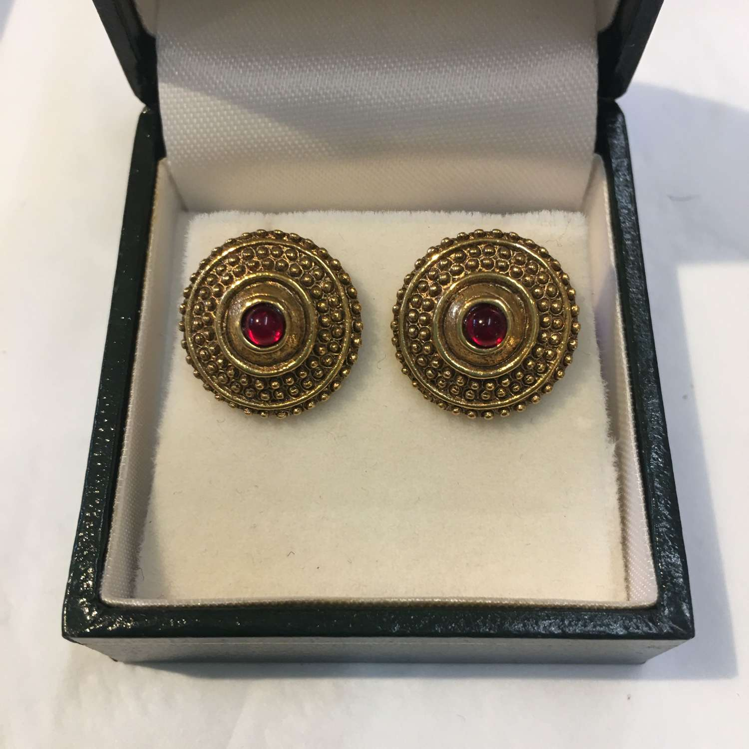 1928 vintage round stud earrings with red glass centre stone