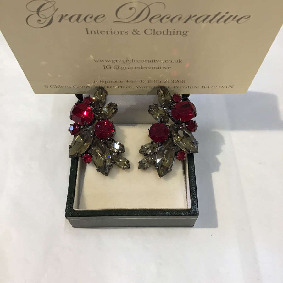 1950s grey and red stone clip earrings