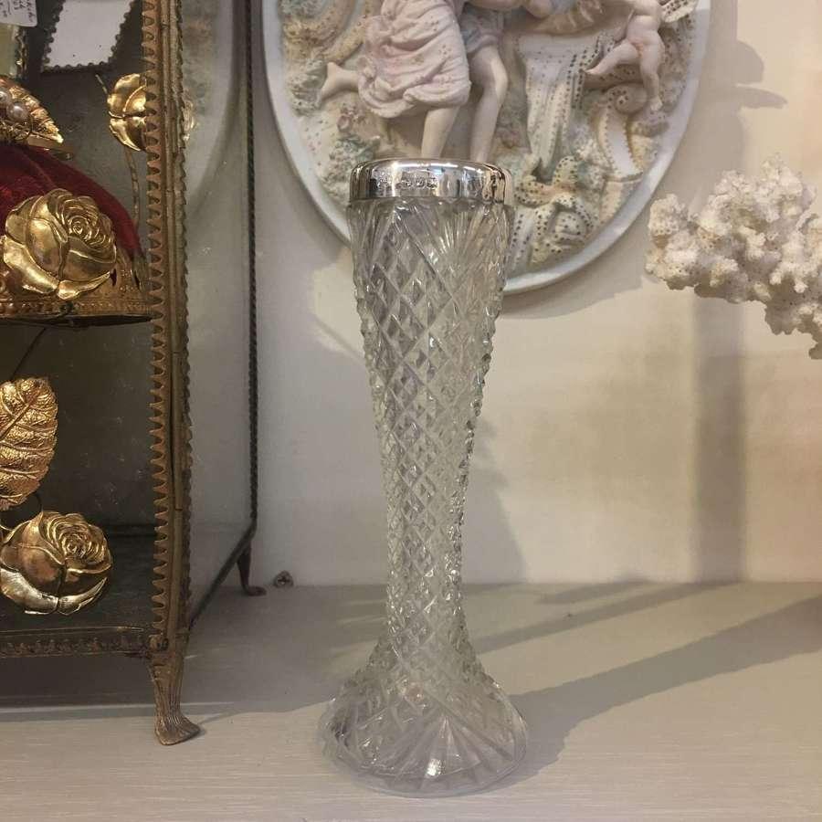 Victorian silver topped cut glass vase Birmingham hallmark 1899