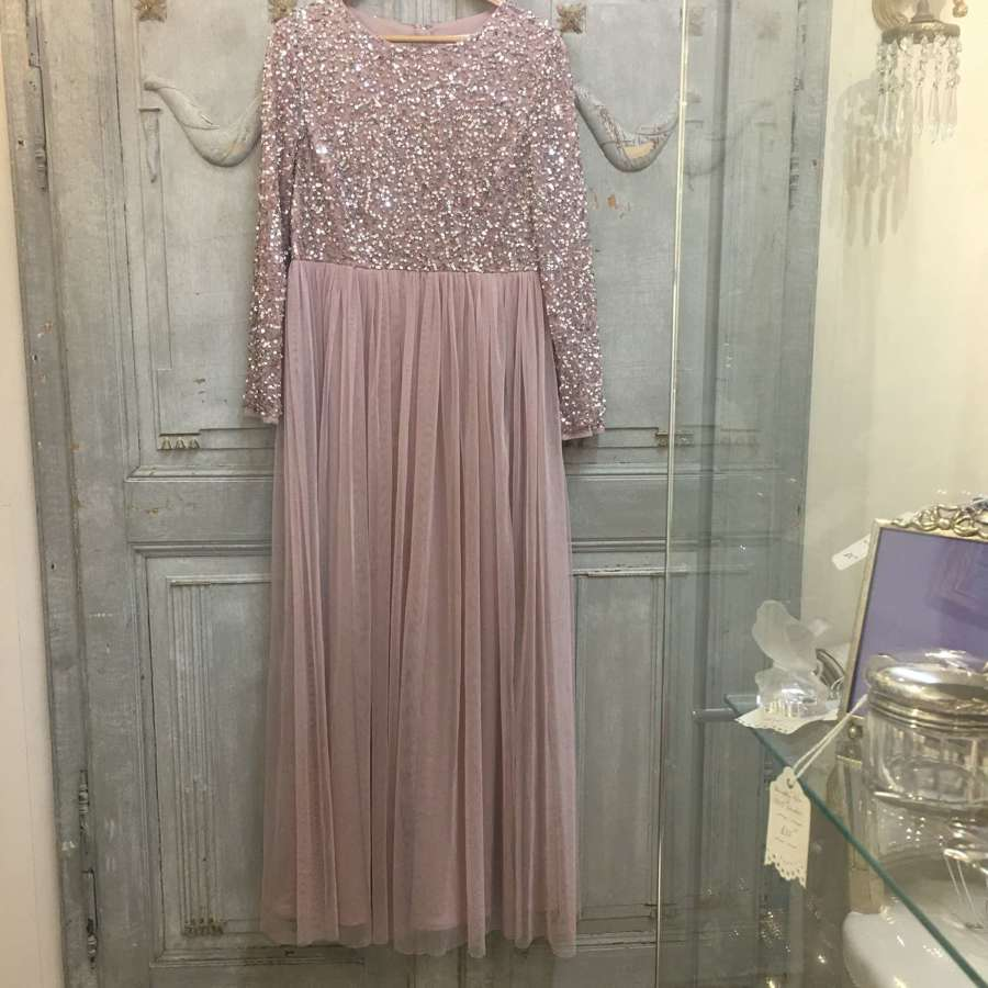 Pink sequin and net evening dress by Maya Deluxe size UK 16