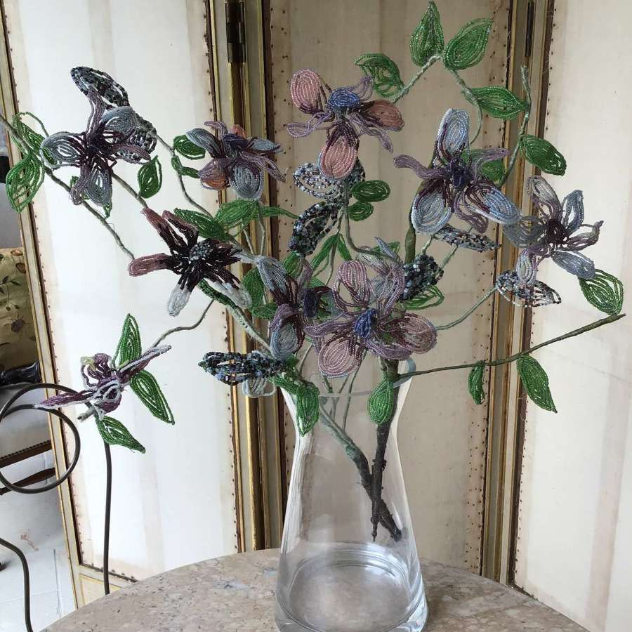 Antique French beaded flower spray