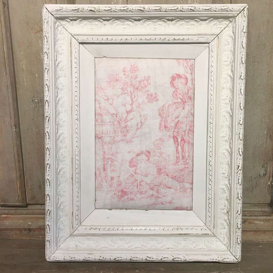 Early 19th century French toile in an antique French frame