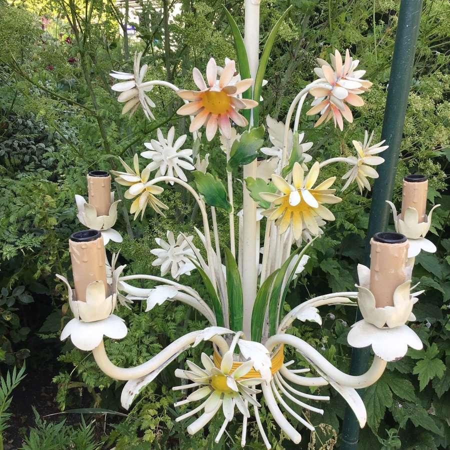 Vintage toleware chandelier cream with daisies