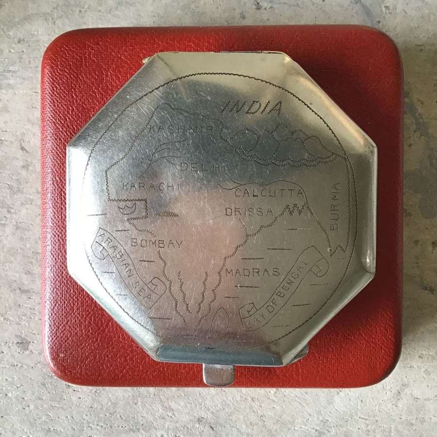 Vintage map of India powder compact