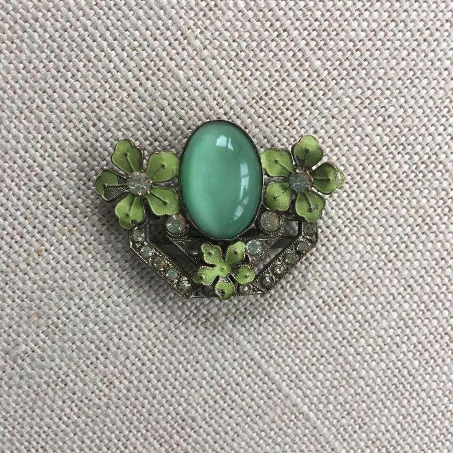 Decorative Art Deco green half buckle