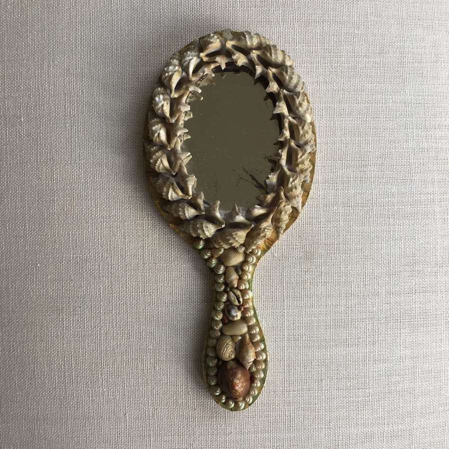Vintage shell hanging or hand mirror
