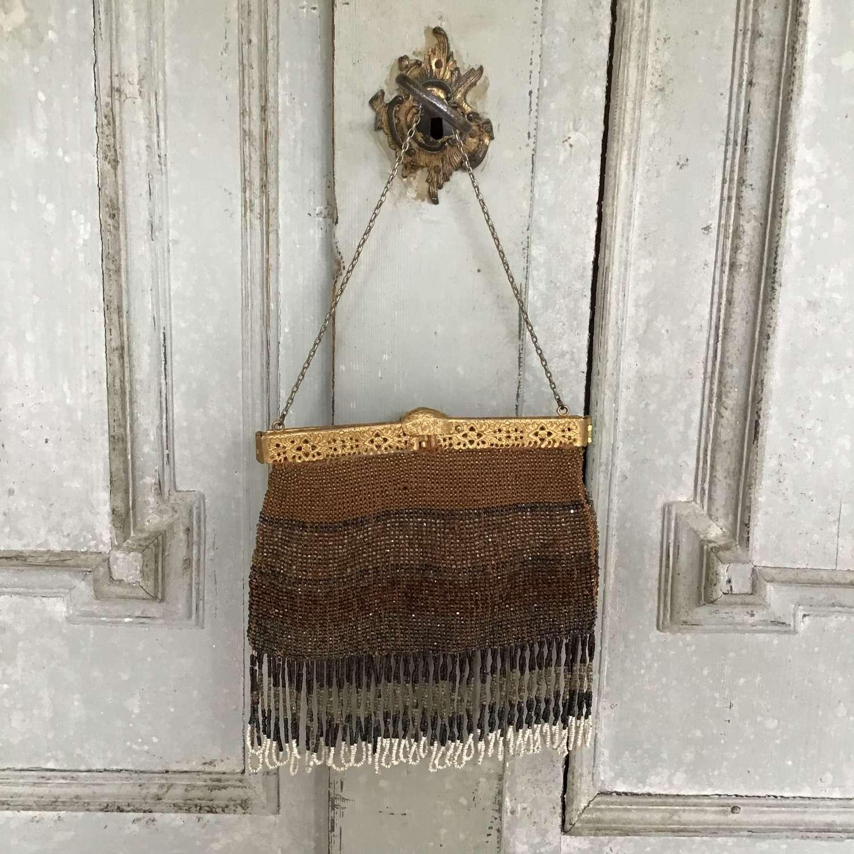 Antique beaded bag rusts, browns, bronzes, black