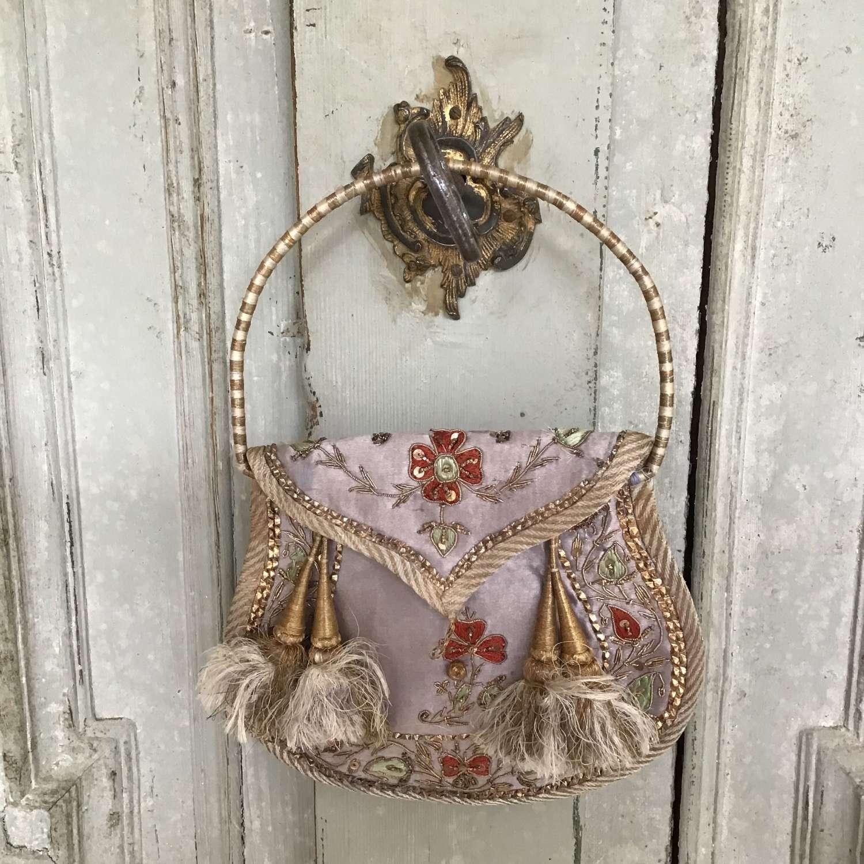 Antique silk embroidered purse
